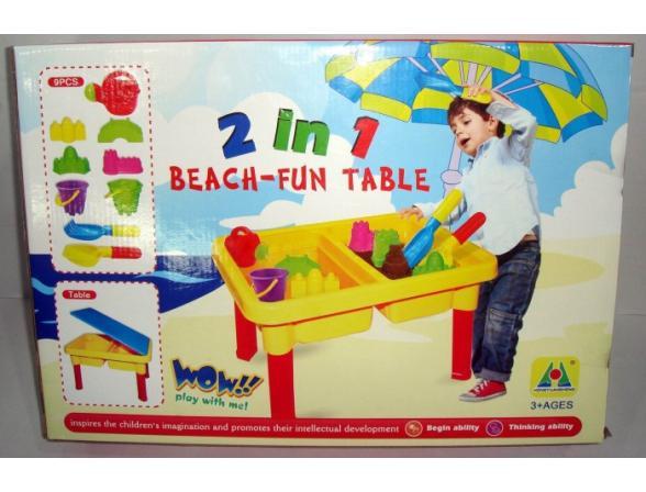 Песочница + Стол EDU-PLAY Веселый Пляж + 9 предметов