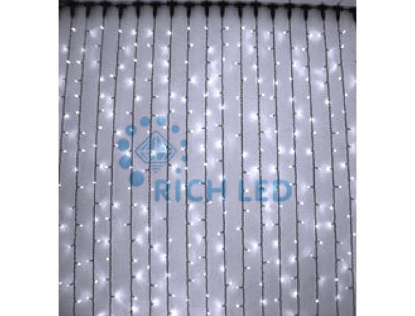 Светодиодный занавес Rich LED 2*6 м, цвет: белый. Черный провод
