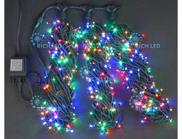 Светодиодная гирлянда Rich LED 3 нити по 20 м, с контроллером,  цвет: мульти. Темно-зеленый провод.