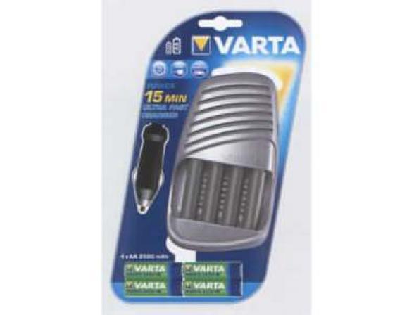 Зарядное устройство Varta Power Play Ultra Fast 15Min +4AA 2500 мА-ч + 12V адаптер