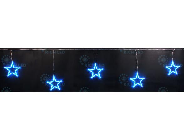 Светодиодные подвески Rich LED Звезды 3*0.5 м, цвет: синий.  Прозрачный провод.