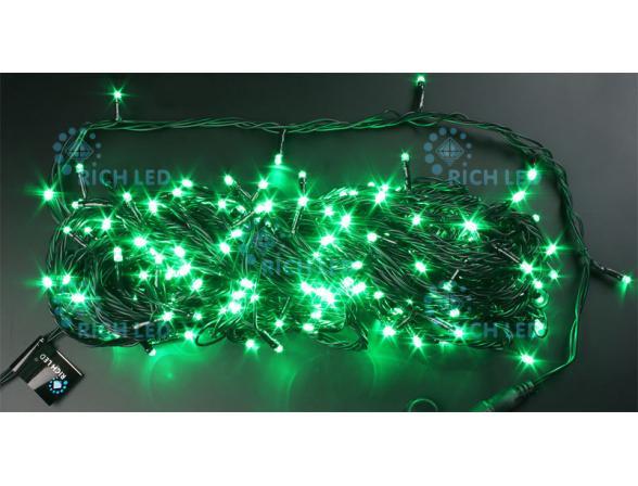 Светодиодная гирлянда Rich LED 20 м, цвет: зеленый. Черный провод.