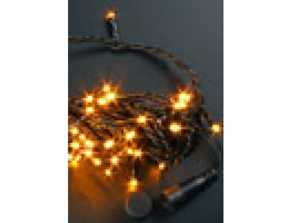 Светодиодная гирлянда Rich LED 10 м, цвет: желтый. Черный провод.
