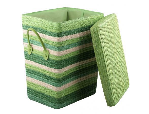 Короб Natural House зеленый с ручками с крышкой M