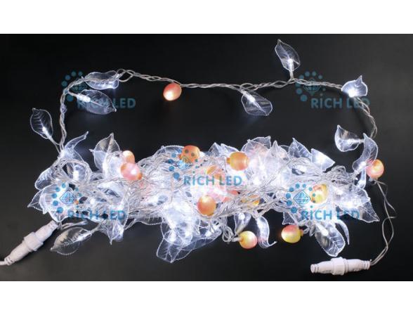 Светодиодный декор Rich LED ФЛОРА 10 м, цвет: белый. Прозрачный провод