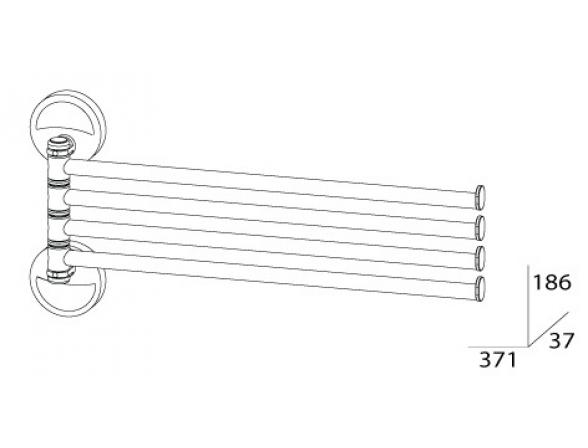 Держатель полотенец поворотный четверной FBS ELLEA 35 см ELL 046