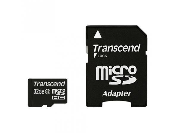 Флэш память Transcend 32Gb microSDHC Card class 4 + SD адаптер TS32GUSDHC4