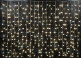 Светодиодный занавес Rich LED 2*1.5 м, цвет: теплый белый. Прозрачный провод
