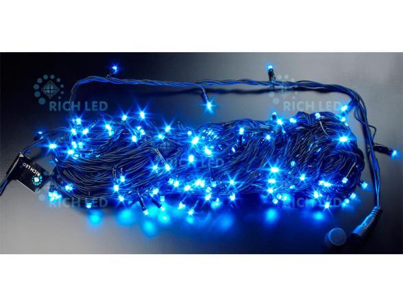 Светодиодная гирлянда Rich LED 20 м, цвет: синий. Черный провод.