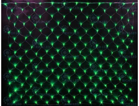 Светодиодная сетка Rich LED 2*3 м, цвет: зеленый+белый. Прозрачный провод.