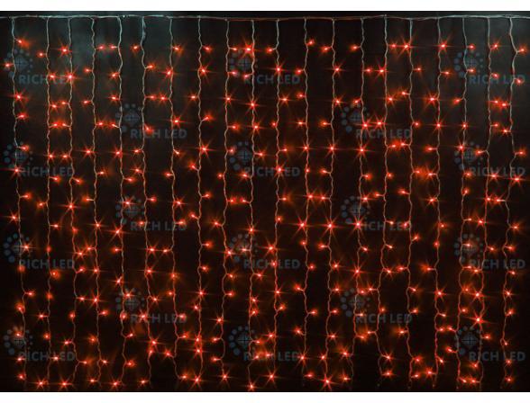 Светодиодный занавес Rich LED 2*1.5 м, цвет: красный. Прозрачный провод