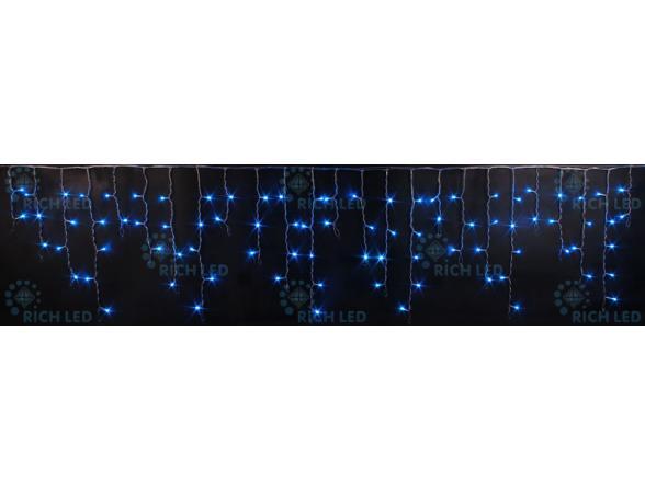 Светодиодная бахрома Rich LED 3*0.5 м, цвет: синий. Прозрачный провод