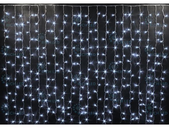 Светодиодный занавес Rich LED 2*1.5 м,мерцающий,  цвет: белый. Прозрачный провод