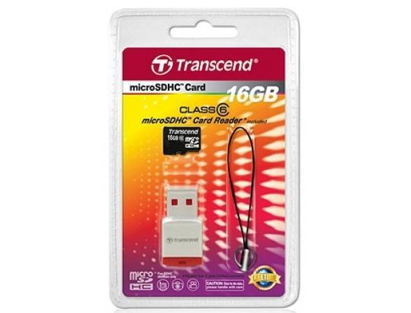 Флэш память Transcend 16Gb microSDHC class 6 TS16GUSDHC6-P3