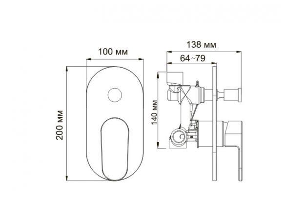 Смеситель для ванны и душа со встраиваемой системой монтажа WasserKRAFT Donau 5361