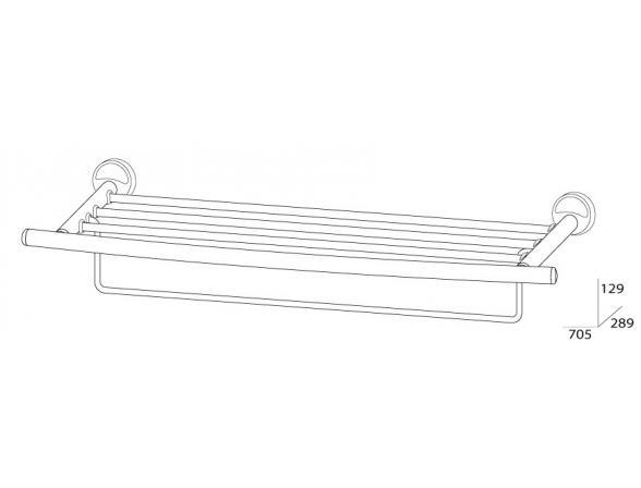 Полка для полотенец с нижним держателем FBS ELLEA 70 см ELL 043