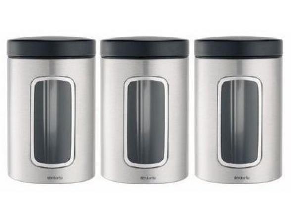 Набор контейнеров с окном Brabantia 3пр.(1,4л.) с защитой от отпечатков пальцев