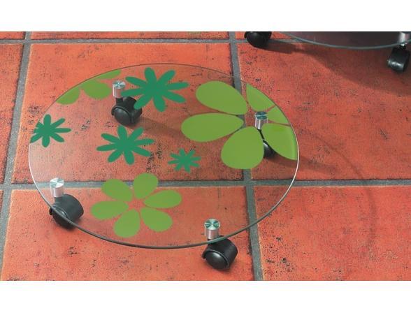 Подставка на колесиках Kesper стекло с цветами    1724-7