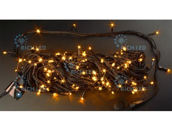 Светодиодная гирлянда Rich LED 20 м, цвет: желтый. Черный провод.