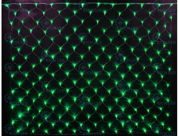 Светодиодная сетка Rich LED 2*1.5 м, цвет: зеленый. Прозрачный провод.