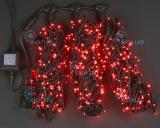Светодиодная гирлянда Rich LED 3 нити по 20 м, с контроллером, цвет: красный. Черный провод.