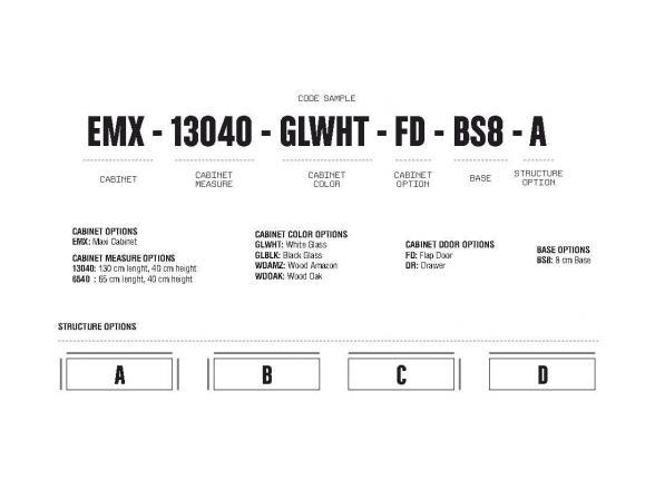 Стойка под TV Elements EMX-13040-GLWHT-FD-BS8-B