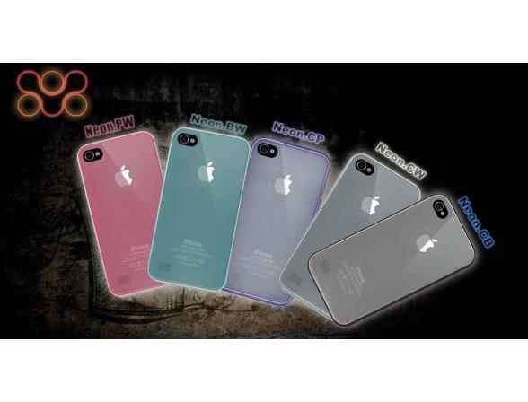 Флуоресцентный пластиковый чехол Promate для iPhone 4 (Neon.BW) зеленый