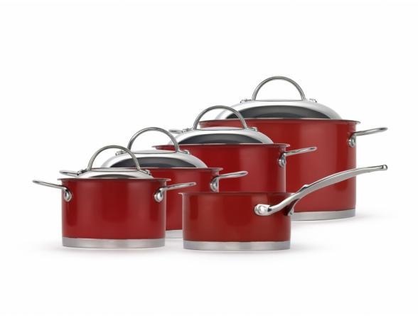 Набор посуды Wesco красный 4 кастрюли (1,5;2,5;3;5) ковш 1литр 340701-02