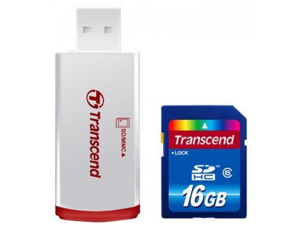 Флэш память Transcend 16Gb SDHC Card Class 6 + ридер