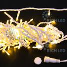 Светодиодная гирлянда Rich LED 10 м, цвет: теплый белый. Белый провод.