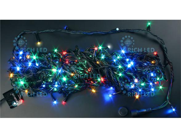 Светодиодная гирлянда Rich LED 20 м, цвет: мульти. Черный провод.