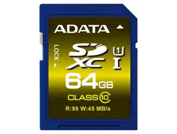 Флэш память ADATA 64GB SDXC Card Class 10 UHS-I Premium Pro