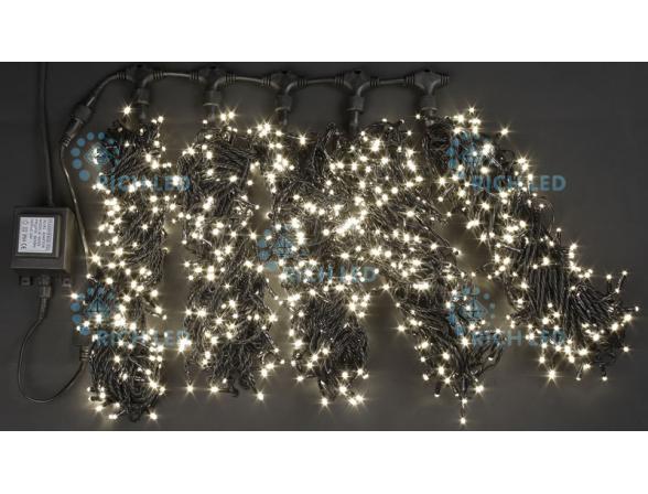 Светодиодная гирлянда Rich LED 5 нитей по 20 м, с контроллером, цвет: теплый белый.  Черный провод.