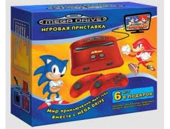 Игровая приставка Mega Drive 6 встроенных игр (красная) (прист., 2 дж., AV-каб., адапт.)