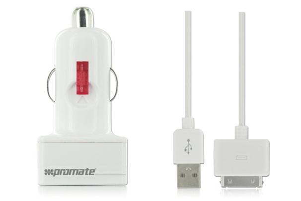 Зарядка от прикуривателя.  Складной механизм для удобства в пути.  Защита отперенапряжения и замыкания (ChargMate.iP) .